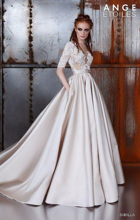 Свадьба - Wedding Dress SIBILLA, Wedding Dresses A-line, Wedding Dresses Ball Gown, Wedding Dresses 3/4 Sleeves