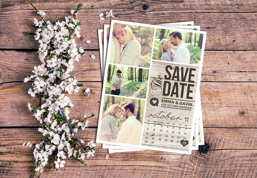 Mariage - Save The Date Magnet, Card or Postcard . Modern Rustic Calendar