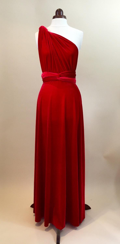 Свадьба - Prom dress, bridesmaid dress, infinity dress, red velvet dress, ball gown, long dress, evening dress, convertible dress, party dress