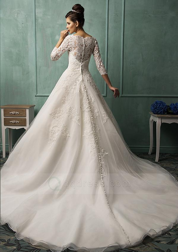 Princess 3/4 Sleeves Bateau Appliqued Cathedral Train Royal Wedding ...