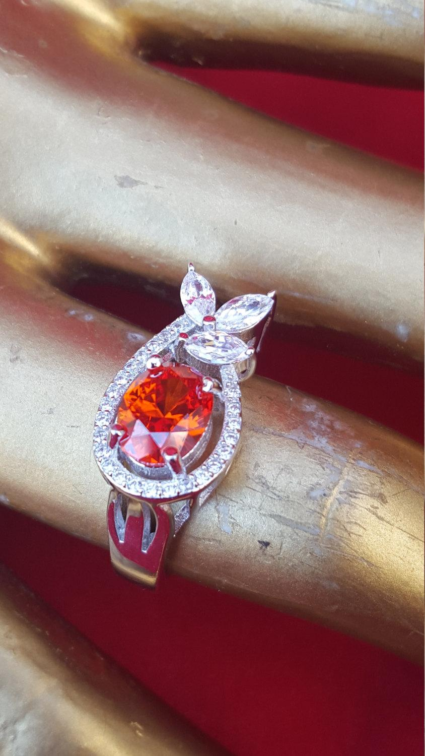Mariage - Sterling Silver Ring.Red Topaz.Engagement Ring.Handmade Ring.Wedding Ring.Bridal Sets.Cocktail Ring.Diamond CZ Rings.Solitaire Ring.R131-140