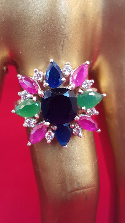 Wedding - Sterling Silver Ring.925 Stamped Ring.Sapphire Ring.Ruby Ring.Emerald Ring.Multi Gemstone Ring.Handmade Ring.Wedding Engagement Ring.R61-70