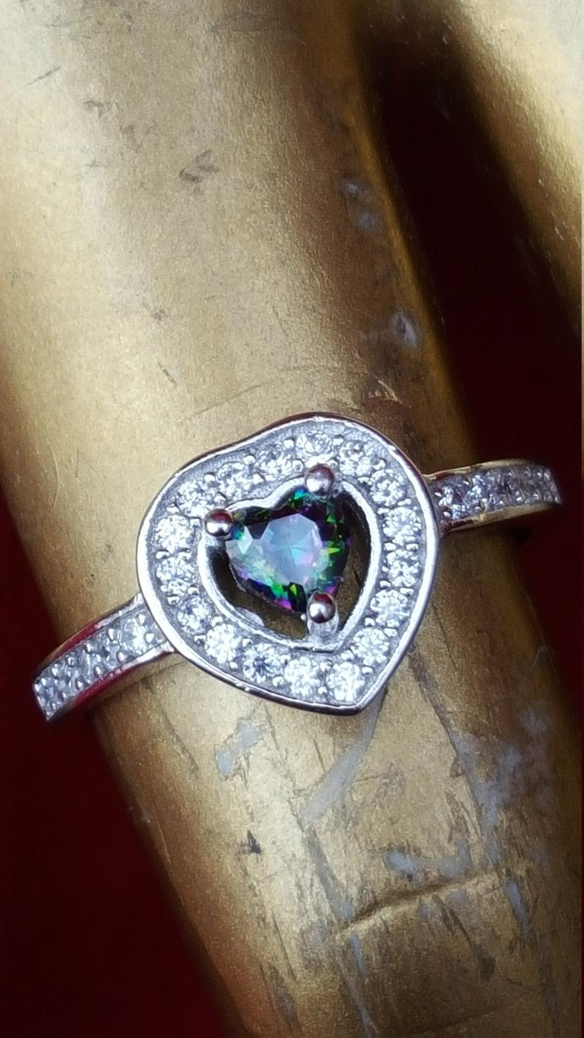 sterling silver ringmystic topaz ring heart shape ring