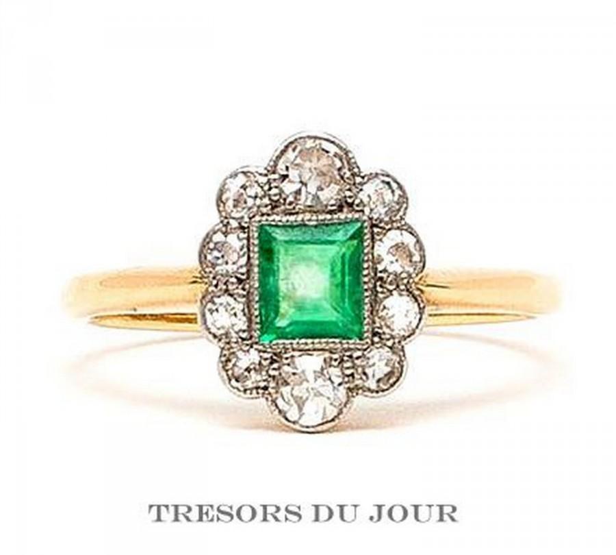 Wedding - Edwardian Engagement Ring Emerald Engagement Ring Art Deco Engagement Ring EMERALD Diamond Halo Engagement RING rose gold white gold