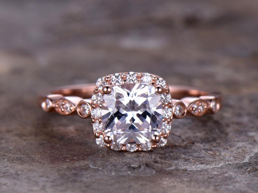 Mariage - 6.5mm Cushion Cut Engagement ring,925 sterling silver stacking art deco wedding band,CZ Bridal ring,Retro vintage,antique rose gold plated