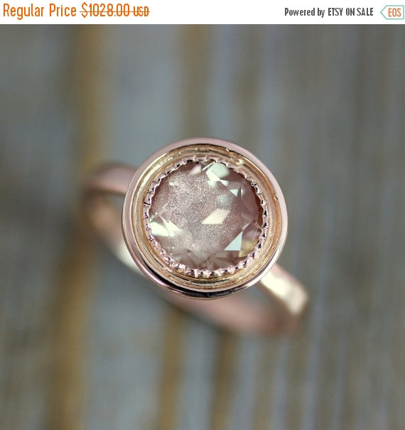 Mariage - CYBER MONDAY 14k Rose Gold and Oregon Sunstone Halo Ring, Vintage Inspired Milgrain Detail, Made To Order