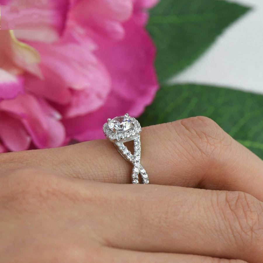 1.25 Ctw Twisted Halo Ring, Engagement Ring, Halo Ring, Criss Cross ...