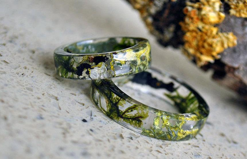 Mariage - Terrarium jewelry, Real Moss Resin Ring,   Real flower ring, Botanical resin ring, Forest jewelry, Fairy ring Men Ring, Mens Jewelry, moss