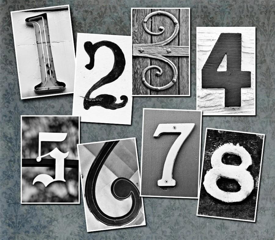 Свадьба - Table Number Cards - Set of 13 4x6 Photos Of Vintage Numbers