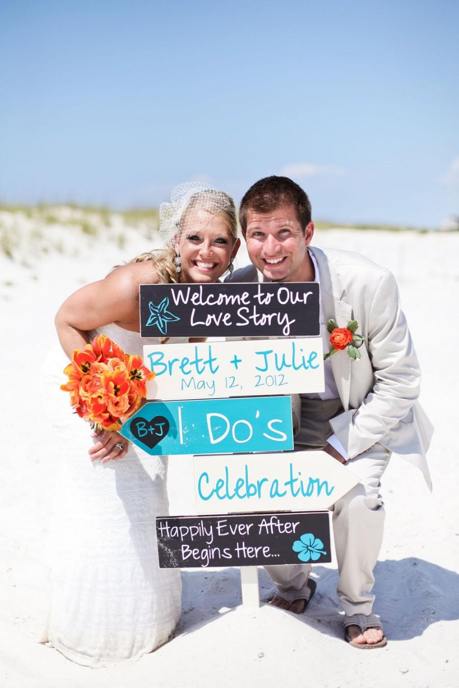 Hochzeit - Beach Wedding Signs.  Five Customized Directional Signs with Arrows. Wedding Ceremony, I Do's or Celebration. Welcome to Our Love Story.