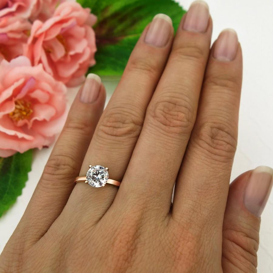 Mariage - 1.5 ct Engagement Ring, 4 Prong Solitaire Ring, Man Made Diamond Simulant, Wedding Ring, Promise Ring, Sterling Silver, Rose Gold Plated