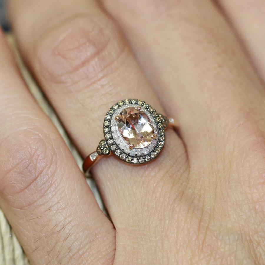Свадьба - Champagne Diamond and Morganite Engagement Ring in 10k Rose Gold Pink Morganite Halo Diamond Wedding Ring Band - Ready to Ship (Resizable)
