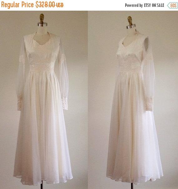 Wedding - ON SALE White wedding dress- Winter wedding dress- Lace wedding dress- Chiffon dress- Vintage bridal-Blush wedding dress- Sheer long sleeves