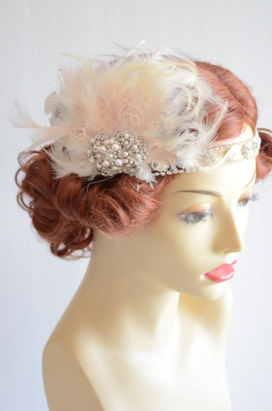 Mariage - Gatsby Headband, Bridal Feather headband, Blush and Champagne with Ivory feather headband, Gatsby headpiece, Art Deco headband, bridal set