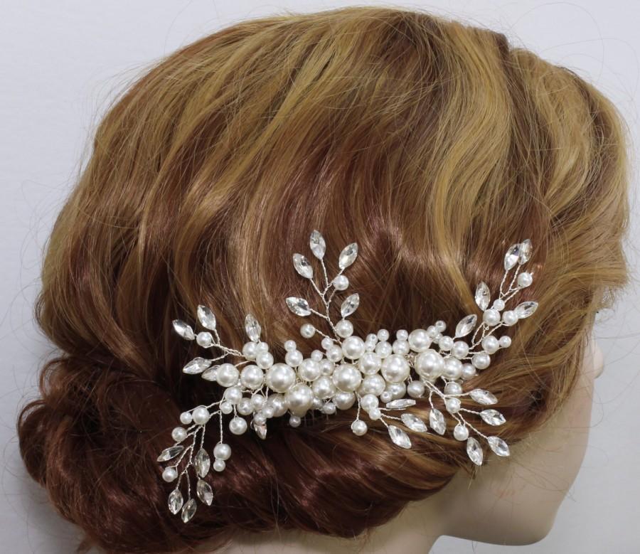 Mariage - Bridal hair piece Wedding hair accessories Bridal hair comb Bridesmaids hair piece Bridesmaids headpiece prom  Swarovski Pearl Rhinestone