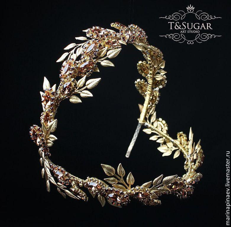 Mariage - Gold Leaf  and Smoked Topaz Wreath, Wreath Crown, Greek Godess, Leaf crown