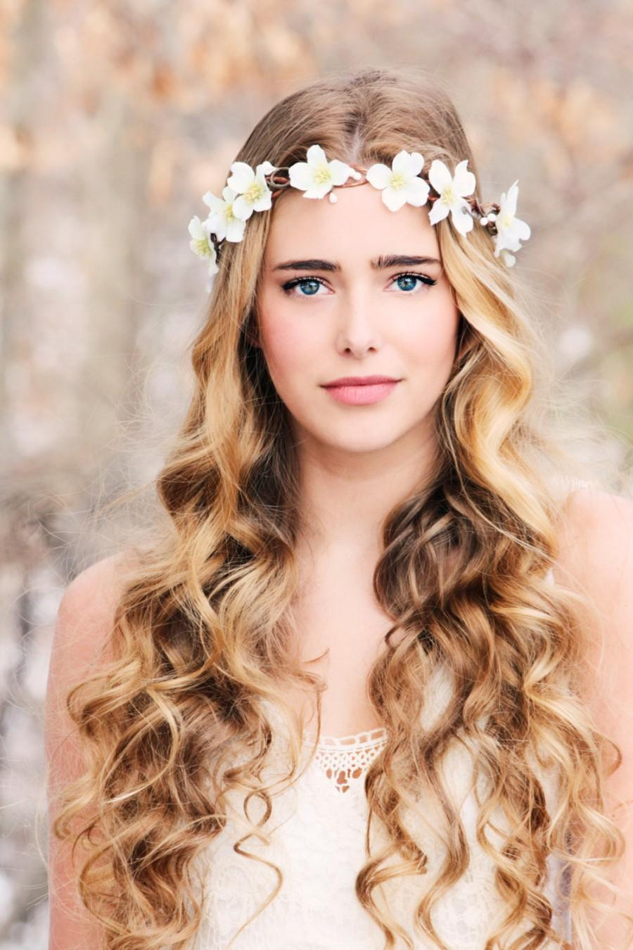 Wedding - Bridal flower wreath woodland halo wedding flower crown bridal head piece rustic hair band