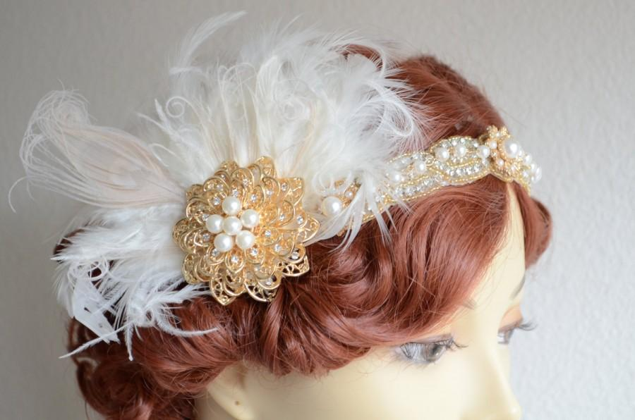Mariage - One of A KIND,Gold  Gatsby headband, Ivory Feathers,Champagne, 1920s headpiece,Gold headband,Peacock feather, Art deco, bridal