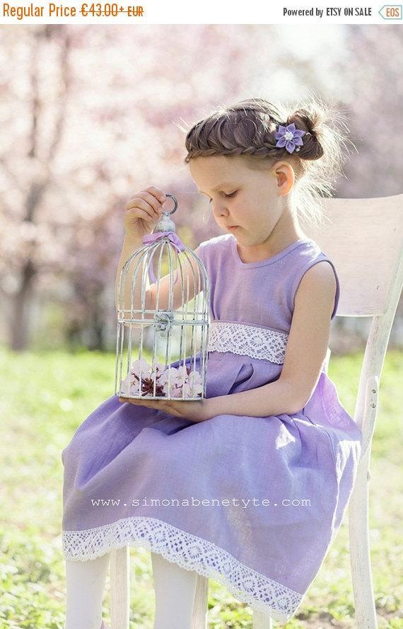 Свадьба - SALE Flower girl dress - Lilac linen flower girl dress - Summer girl dress - Easter girl dress - Special occasion toddler girl dress