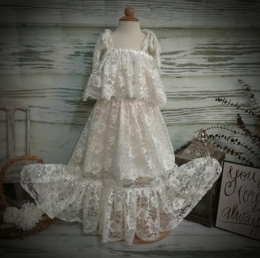 Mariage - Free Shipping  to USA Custom Made Boho Ivory Lace Dress for Flower Girls Available in Sizes Newborn  to 14 years old