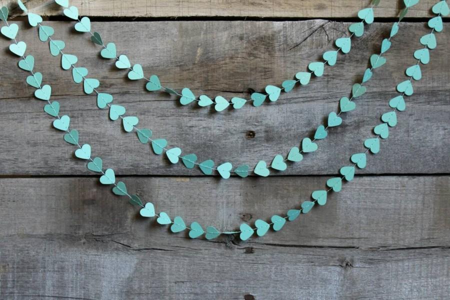 Teal Paper Heart Garland Aqua Wedding Decoration Mint Bachelorette