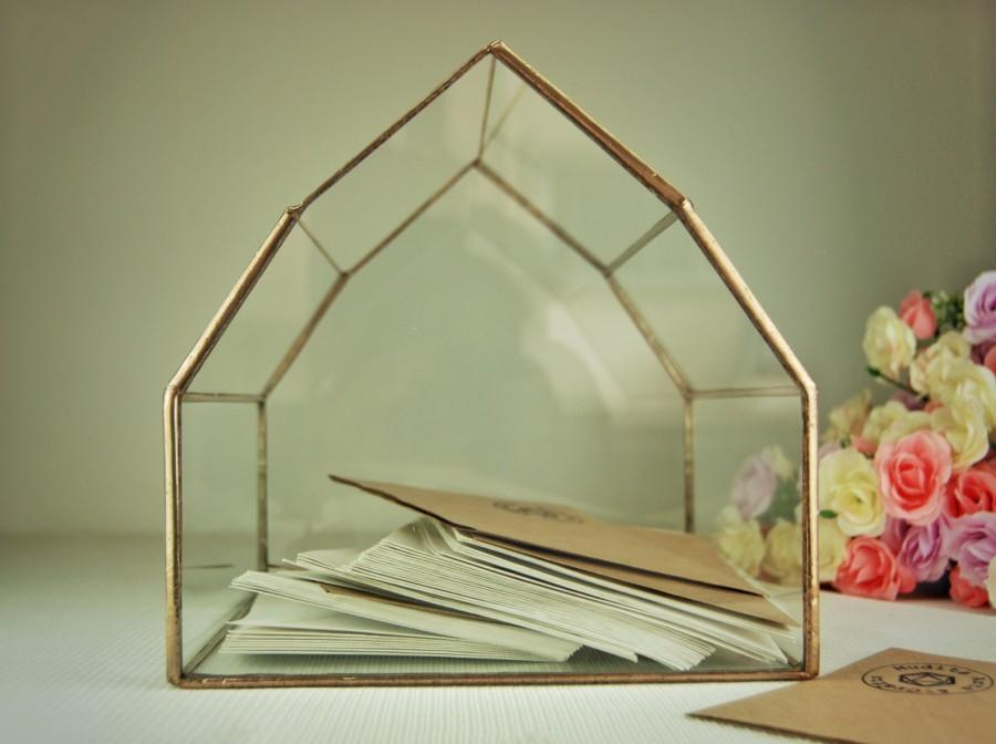 Wedding Card Box Geometric Glass Box Wedding Card Holder Copper