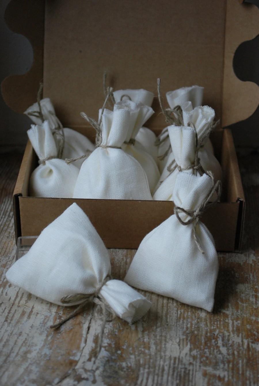 """Wedding - Linen Favor Bags.  WHITE .  Set of 50 . Size:3 1/2"""" ( 8.5cm ) long, 2 1/2"""" (6cm ) wide"""