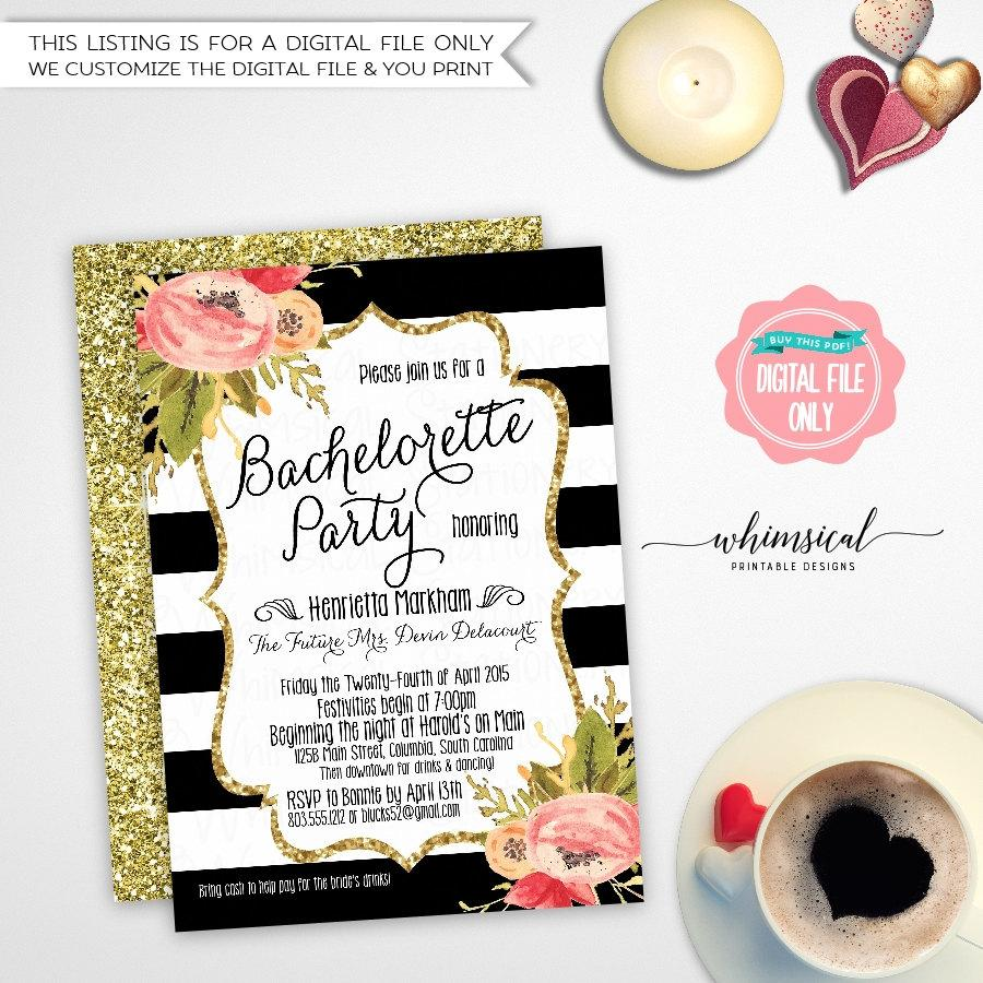 """Свадьба - Bachelorette Party Invitation """"Black and White Striped Florals"""" (Printable File Only) Vintage Roses Gold Faux-Glitter Watercolor Flowers"""