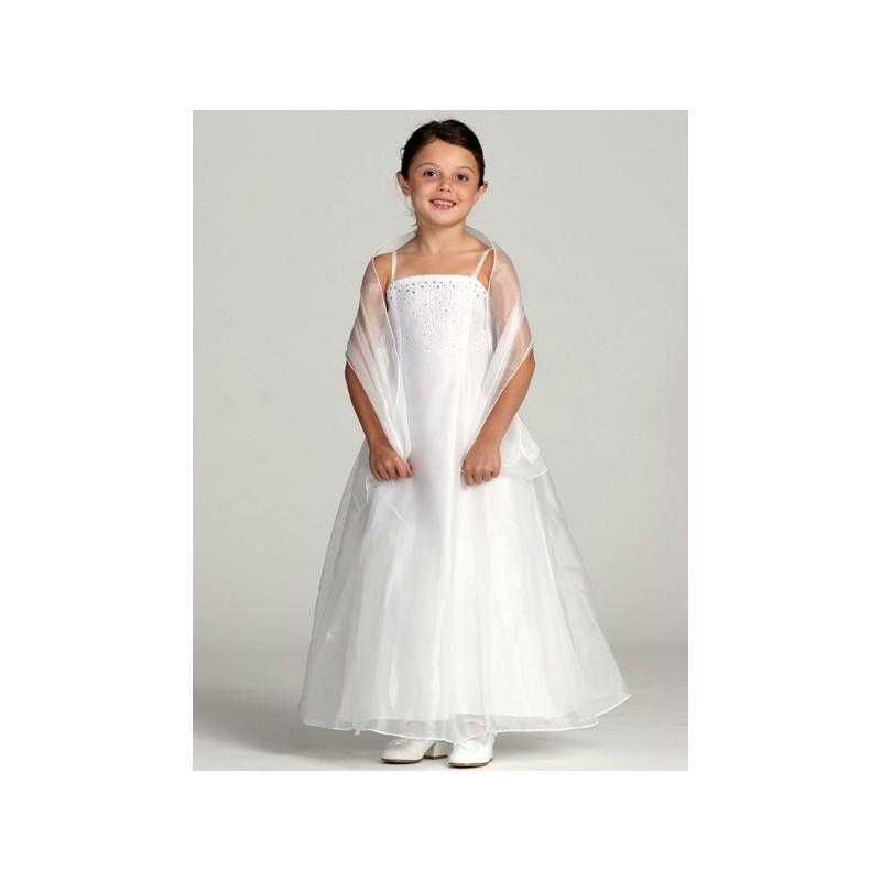 Wedding - White Organza A-Line Dress w/ Shawl Style: D180 - Charming Wedding Party Dresses