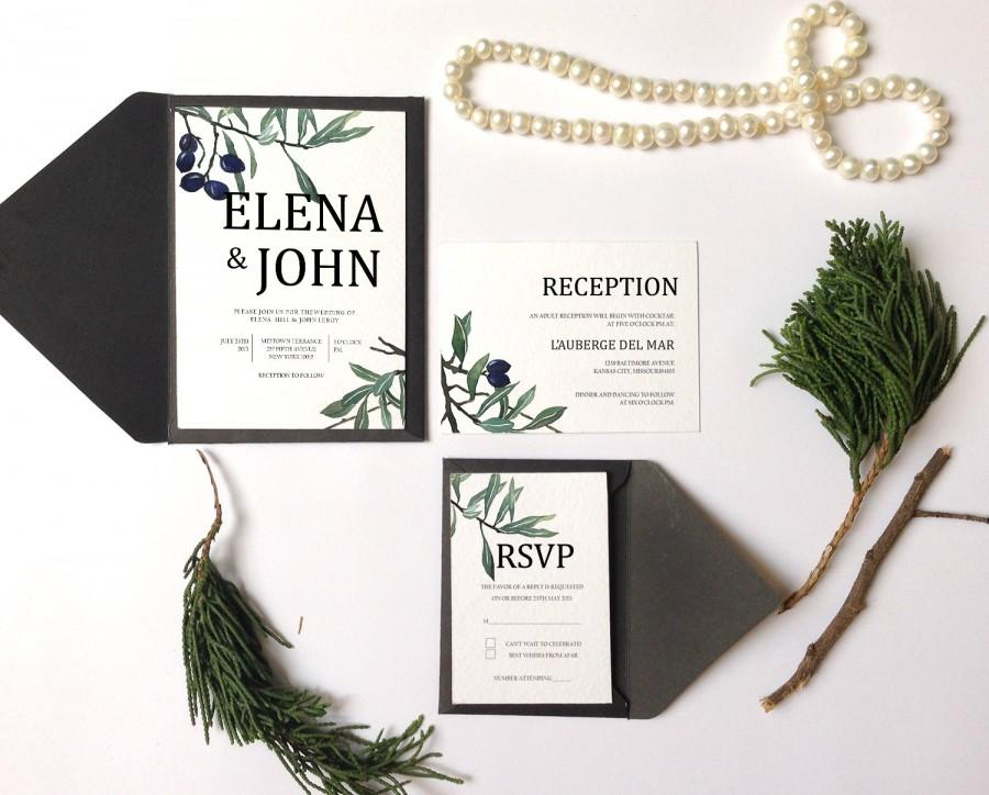 Mariage - Watercolor Botanical Olive Wedding Invitation Printable Set of 4