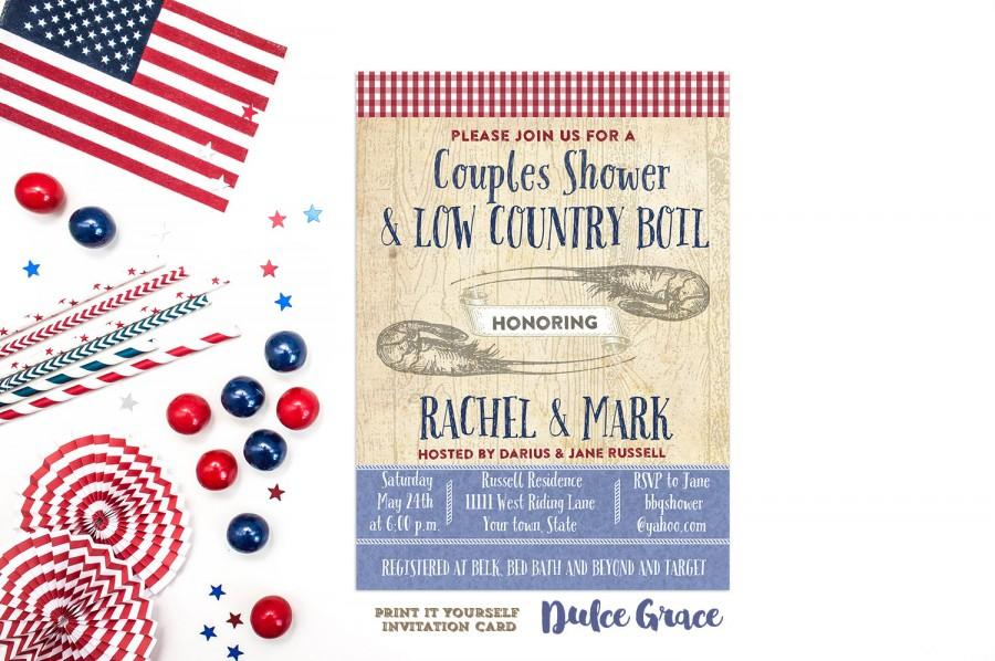 Mariage - couples shower invitation, BBQ invite, low country boil, printable invite, rehearsal dinner, typography invite, digital invitation