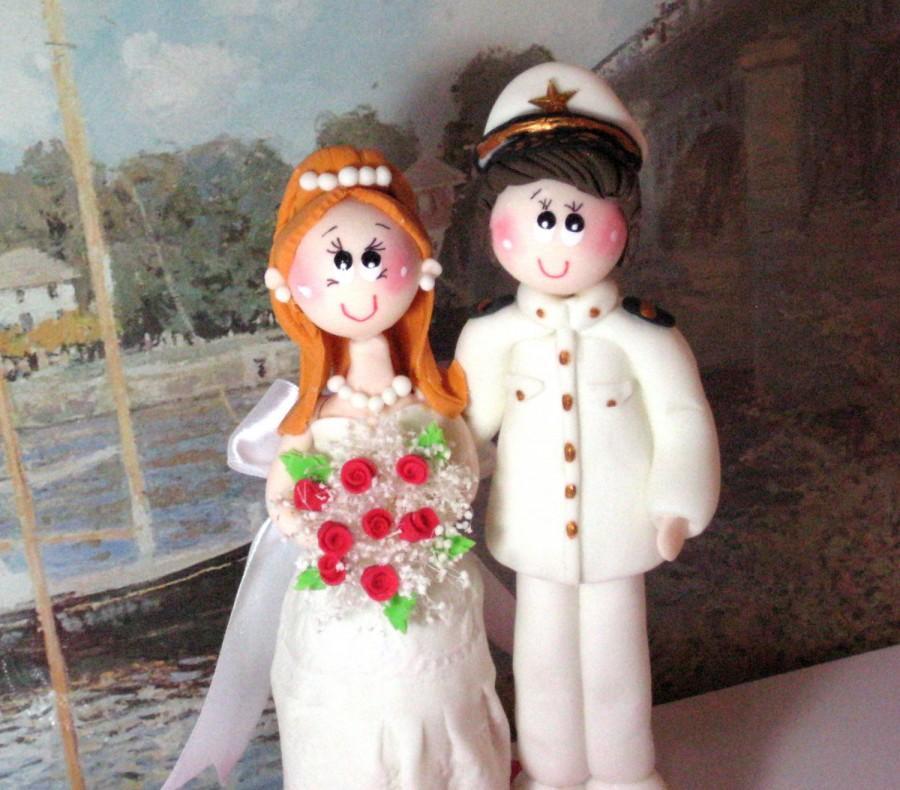 Mariage - Wedding cake topper, custom wedding cake topper, marine wedding cake topper