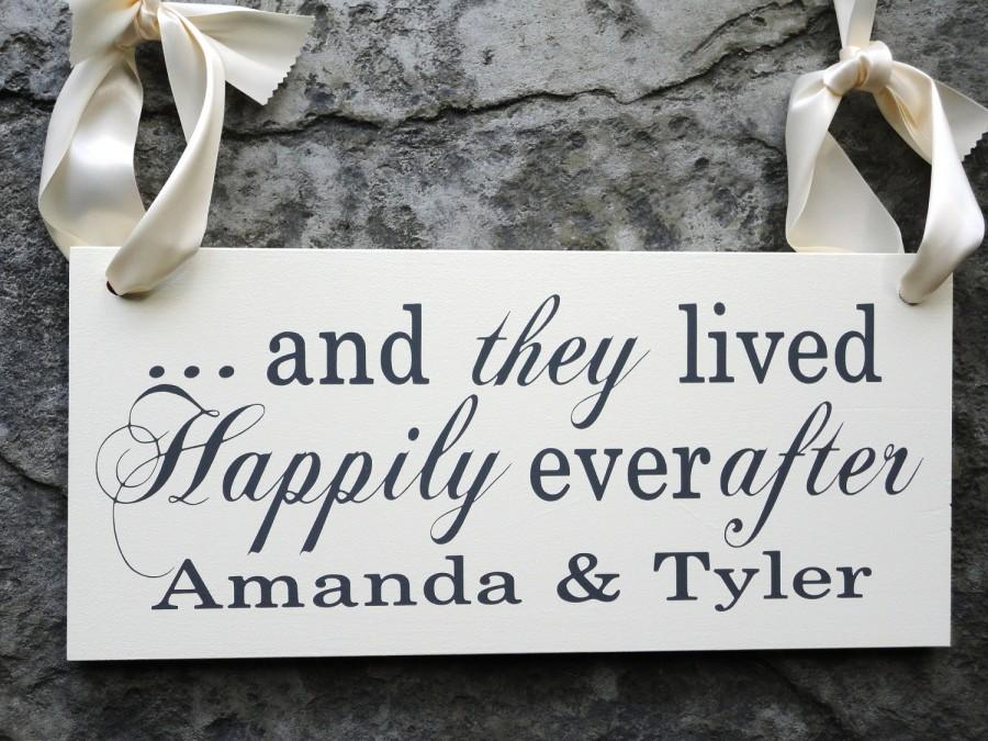 Hochzeit - Here Comes the Bride with And they lived Happily Ever After w/ Bride and Grooms Name, 8 X 16 in. 2-sided. Ring Bearer, Flower Girl.