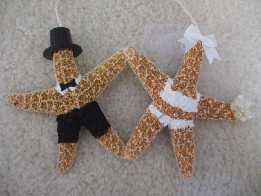 Hochzeit - Bride and Groom Orn, Starfish Ornament, Bridal Shower Gifts, 1st Christmas Orn
