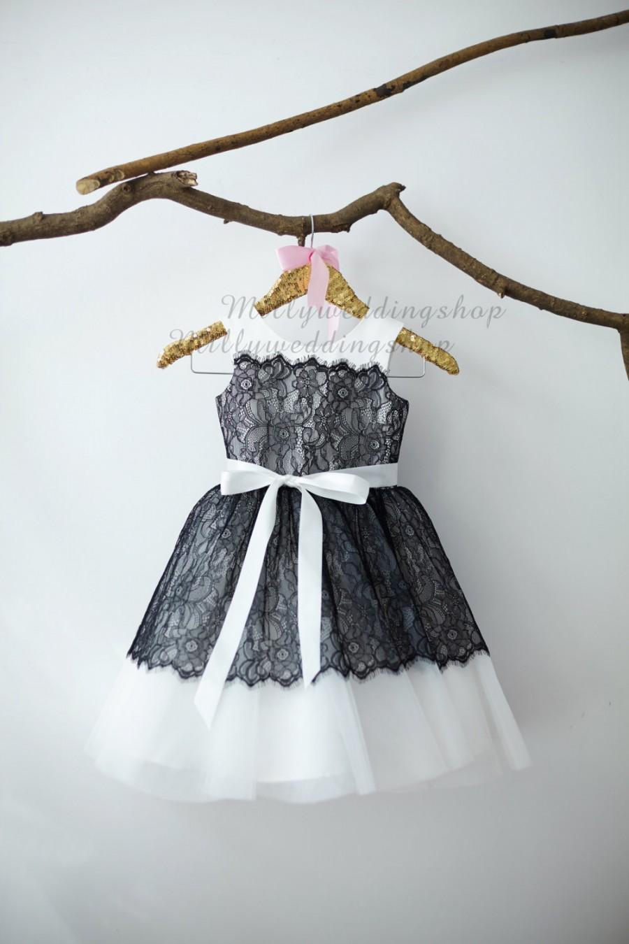 Свадьба - Ivory Satin Black Lace Flower Girl Dress Junior Bridesmaid Wedding Party Dress M007
