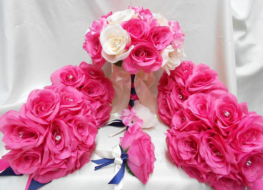 Hochzeit - Wedding Bridal Bouquets Your Colors 18 pcs Package Fuchsia Hot Pink Navy Blue Ivory Toss Bridesmaids  Boutonniere Corsages FREE SHIPPING