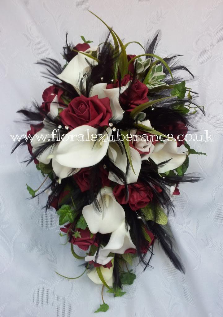 Burgandy black off white silk gothic cascading bridal bouquet burgandy black off white silk gothic cascading bridal bouquet rosescalla lily black feathers real touch silk wedding flowers mightylinksfo