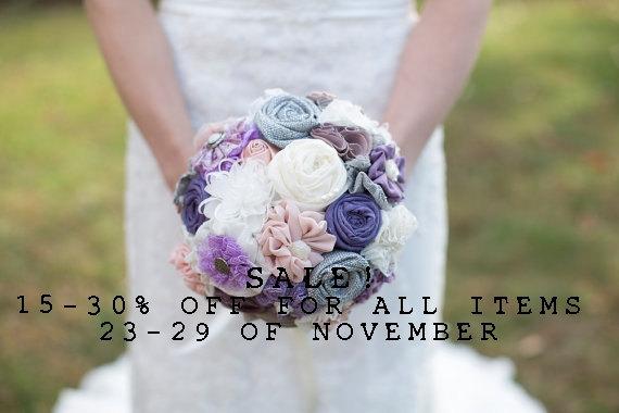 Mariage - SALE! Lavender bouquet, purple wedding bouquet,  bridal bouquet, fabric flowers bridal bouquet