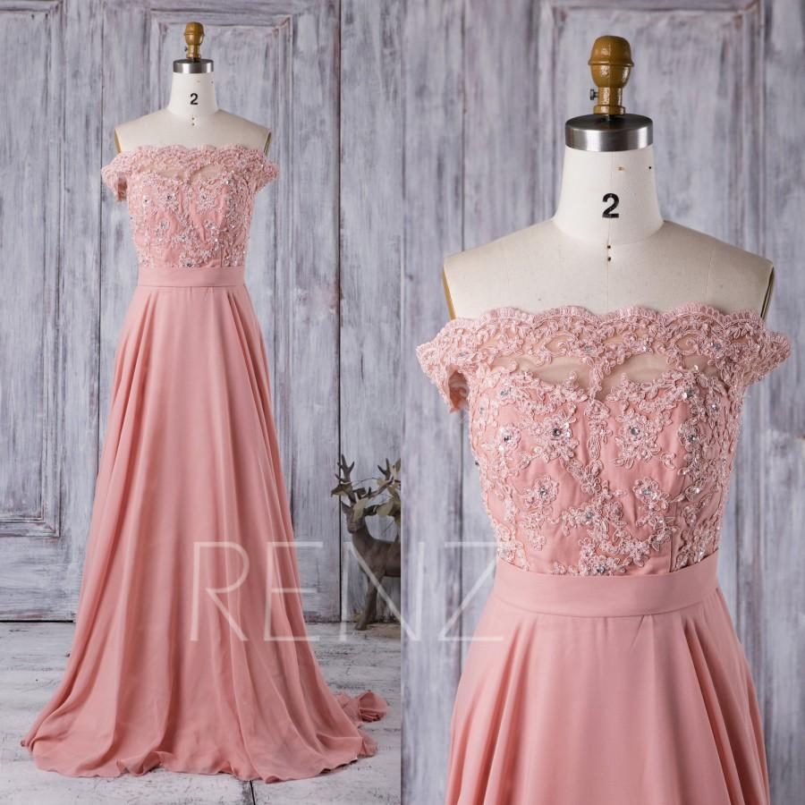 Hochzeit - 2016 Coral Bridesmaid Dress Long, Lace Illusion Off the Shoulder Wedding Dress, Strapless Prom Dress, A Line Chiffon Evening Gwon (X016)