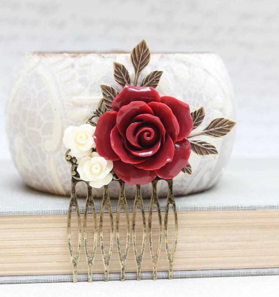 Mariage - Red Rose Comb Floral Collage Hair Accessories Cream Rose Dark Red Wedding Bridal Stocking Stuffer Victorian Christmas Gift For Her