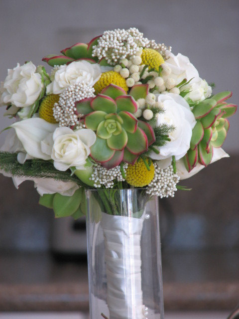 Свадьба - Succulent and Flowers Wedding Bouquet with yellow accent