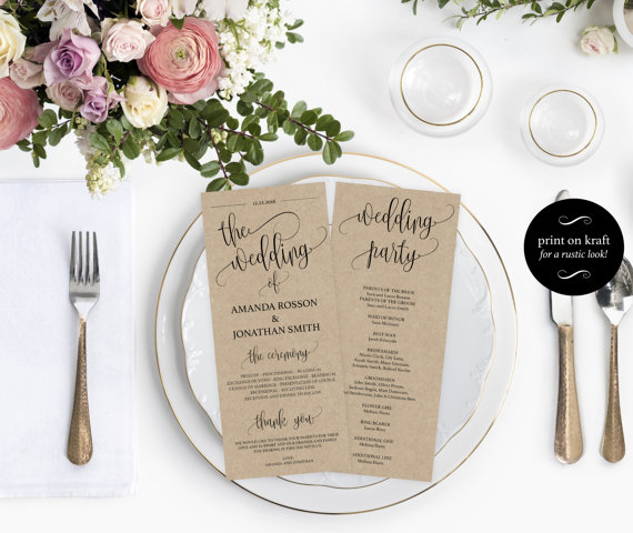 wedding program printable template printable wedding program