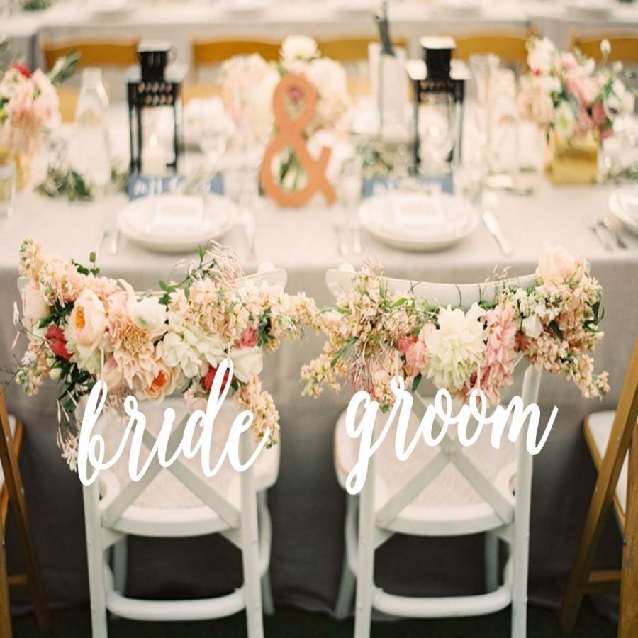 Свадьба - Wedding Decor.Bride and Groom  Chair Signs.