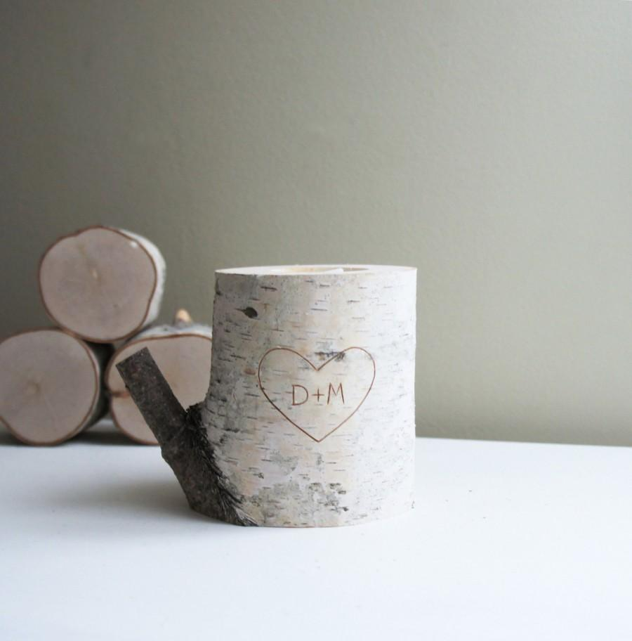 Свадьба - personalized natural white birch wood candle holder - carved heart & initials, wedding gift, anniversary gift, romantic gift