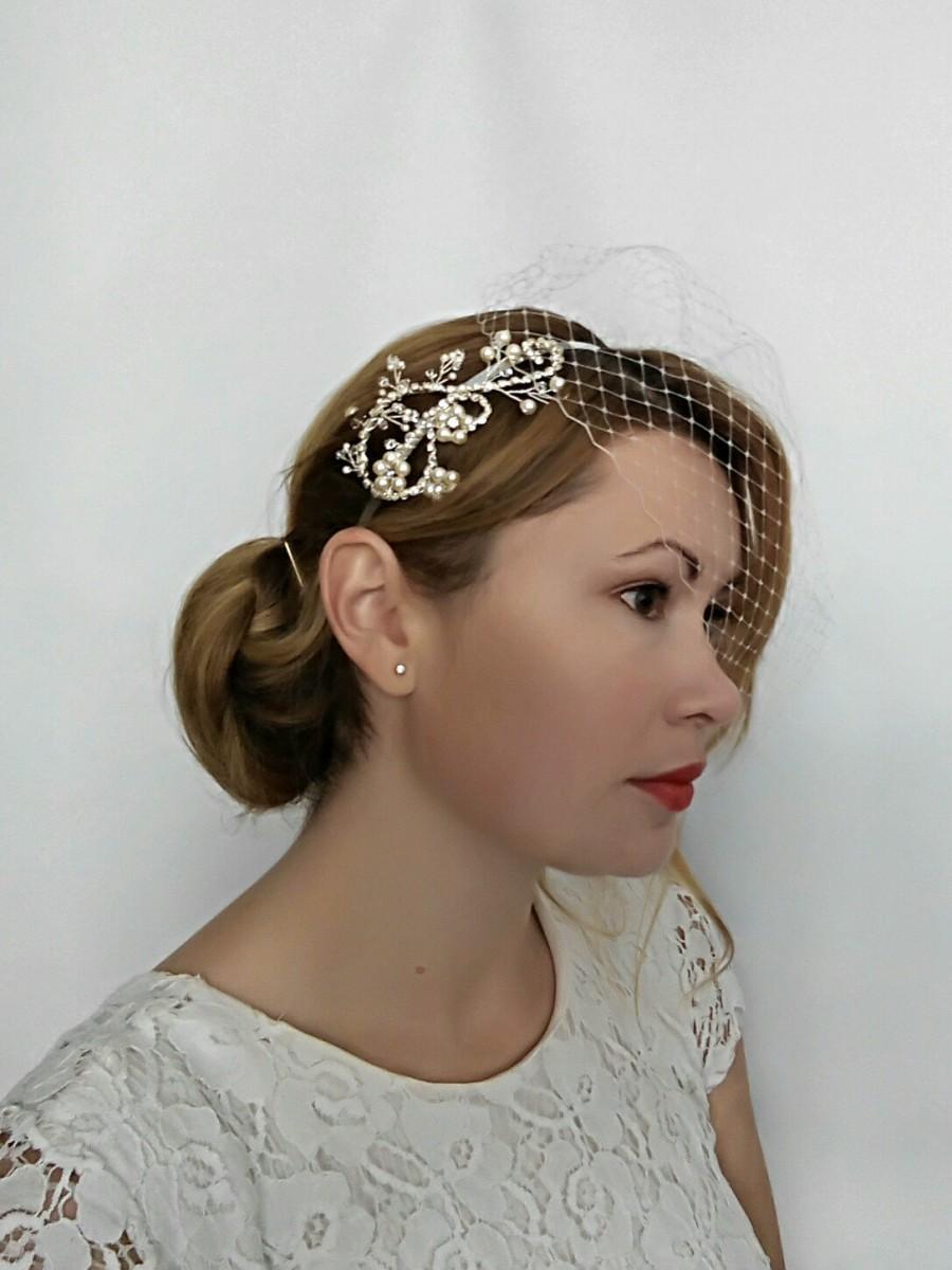 Mariage - Birdcage Veil Pearl Headband, Bird Cage Veil Pearl Headpiece, Veil Headpiece, Crystal and Pearl Headband, Pearl Head Piece