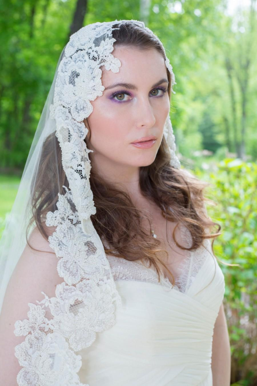 Hochzeit - Wedding Veil - Vintage French Alencon Lace Mantilla Veil with Dramatic Train