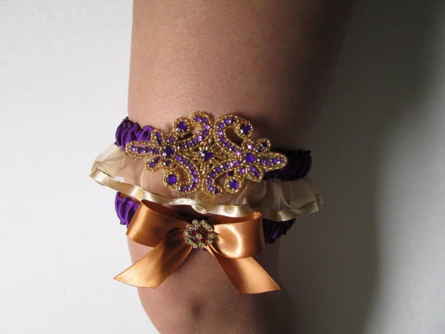 Wedding - Gold & Purple Wedding Garter Set, Purple and Gold Prom 2016 Garter, Mardi Gras Wedding, Masquerade Bride