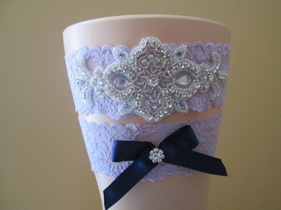 Wedding - Lilac Purple Lace Wedding Garter Set, Lavender Garters w/ Rhinestones, Navy Blue Bow, Something Blue, Rustic-Vintage- Country Bride