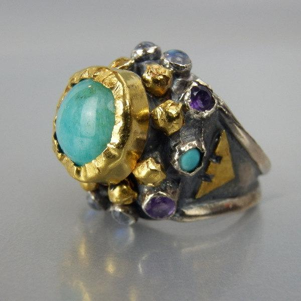Mariage - Amazonite Nefertiti Ring in 24K Solid Gold, Silver Band Ring, Antique Style Ring, Amazonite Ring, Hammered Ring, Amazonite Engagement Ring