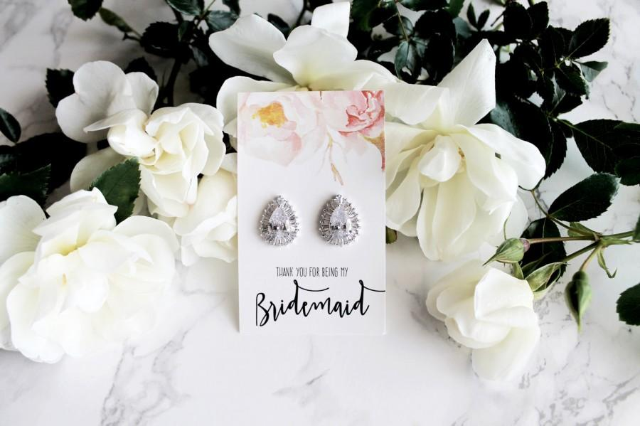 "Boda - Aurelie - White Gold plated, Cubic Zirconia ""Will you be my bridesmaid?"" Pop the question earrings Bridesmaid gift"
